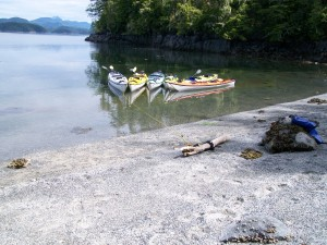 Our tethered kayaks--ready for us after a lunch break