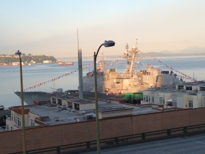 Military ship docked in Elliott Bay during Seafair